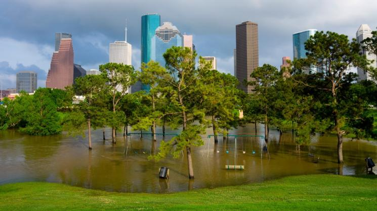 Flooded playground in Houston, Texas. Photo by: Photoquest