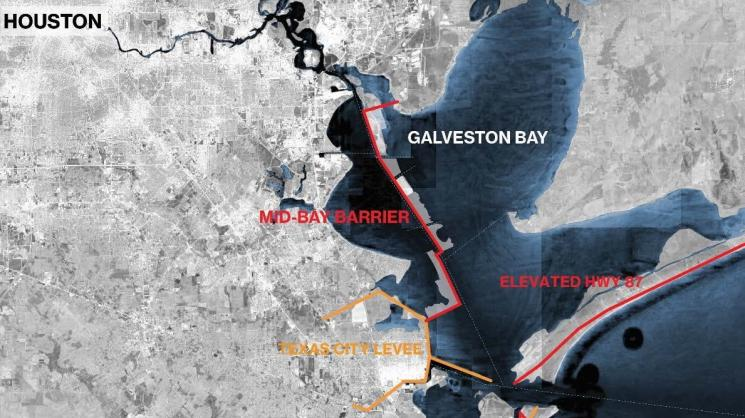 Components of the Galveston Bay Park/Mid-Bay Alternative mitigation proposal. Source: SSPEED Center.
